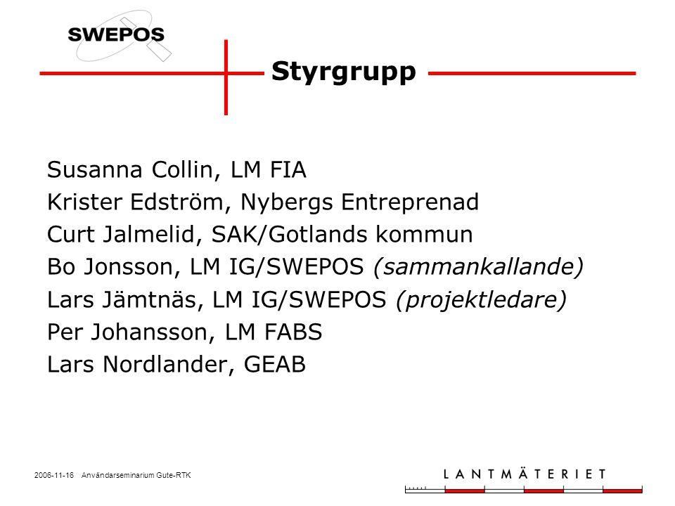 2006-11-16 Användarseminarium Gute-RTK Forum för kommunikation mellan SWEPOS och nätverks-RTK-användare Representanter (15-20 st) från alla etableringsprojekt Sammanträder 2 ggr/år Anordnar lokala SWEPOS- seminarier, via lokala representanter SWEPOS referensgrupp