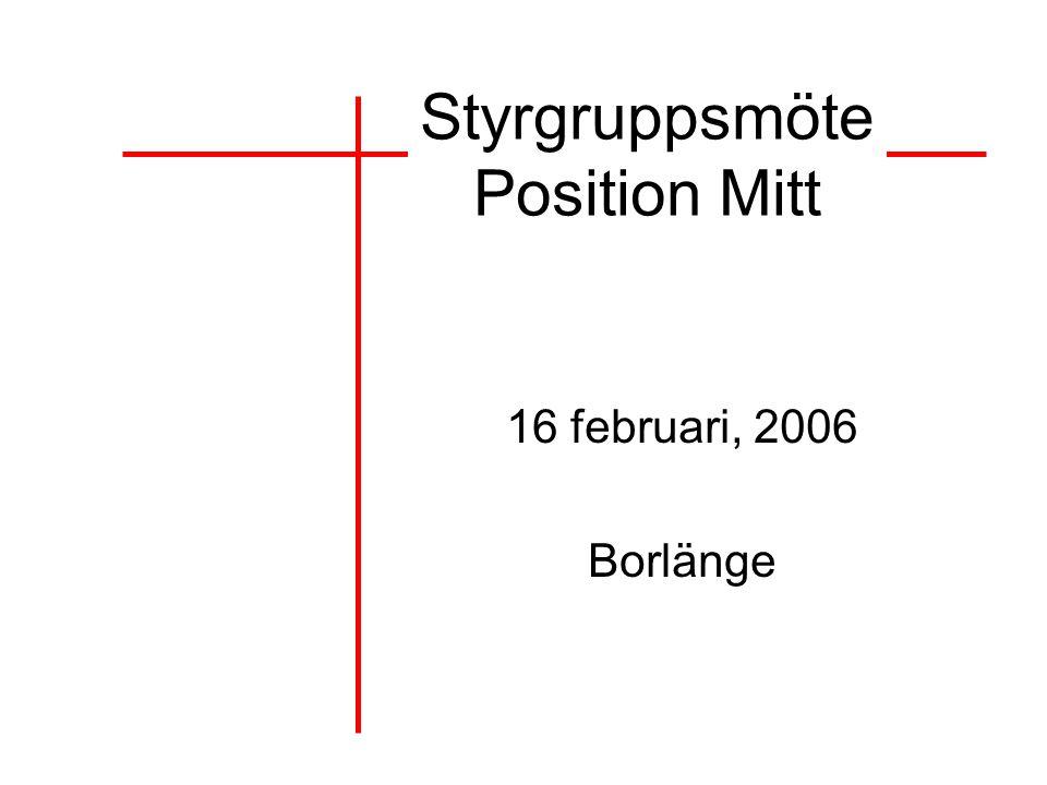 Styrgruppsmöte Position Mitt 16 februari, 2006 Borlänge