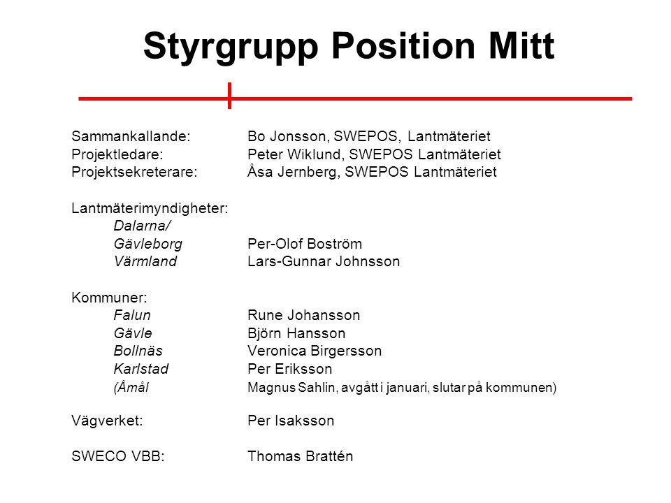 Styrgrupp Position Mitt Sammankallande:Bo Jonsson, SWEPOS, Lantmäteriet Projektledare:Peter Wiklund, SWEPOS Lantmäteriet Projektsekreterare:Åsa Jernbe