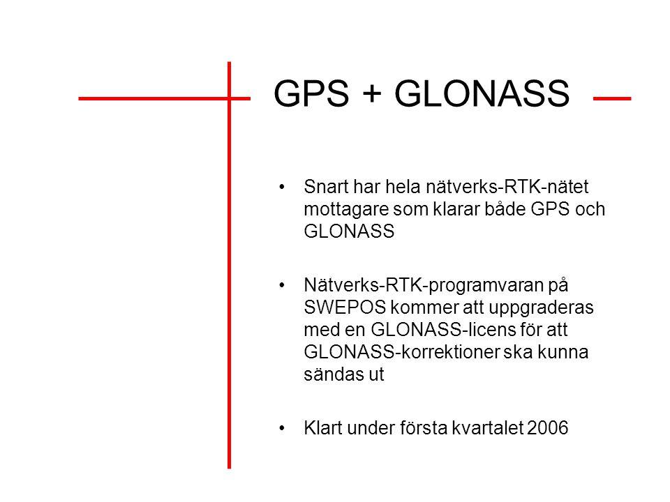 GPS + GLONASS Snart har hela nätverks-RTK-nätet mottagare som klarar både GPS och GLONASS Nätverks-RTK-programvaran på SWEPOS kommer att uppgraderas med en GLONASS-licens för att GLONASS-korrektioner ska kunna sändas ut Klart under första kvartalet 2006