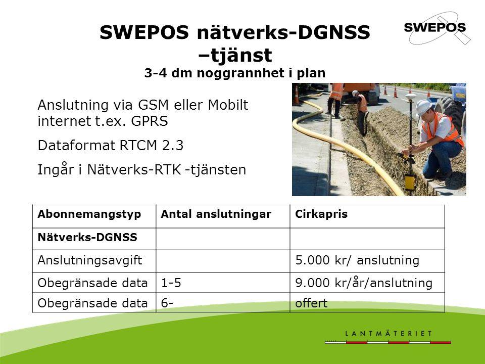 SWEPOS nätverks-DGNSS –tjänst 3-4 dm noggrannhet i plan AbonnemangstypAntal anslutningarCirkapris Nätverks-DGNSS Anslutningsavgift5.000 kr/ anslutning