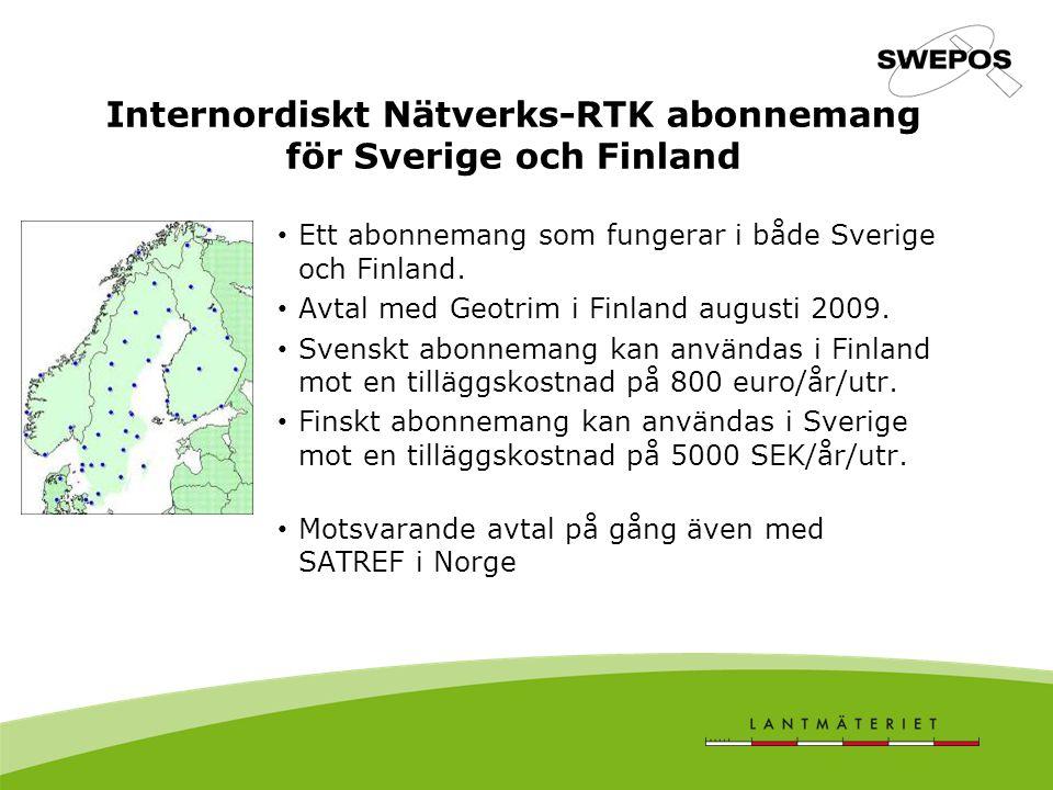 Internordiskt Nätverks-RTK abonnemang för Sverige och Finland Ett abonnemang som fungerar i både Sverige och Finland. Avtal med Geotrim i Finland augu