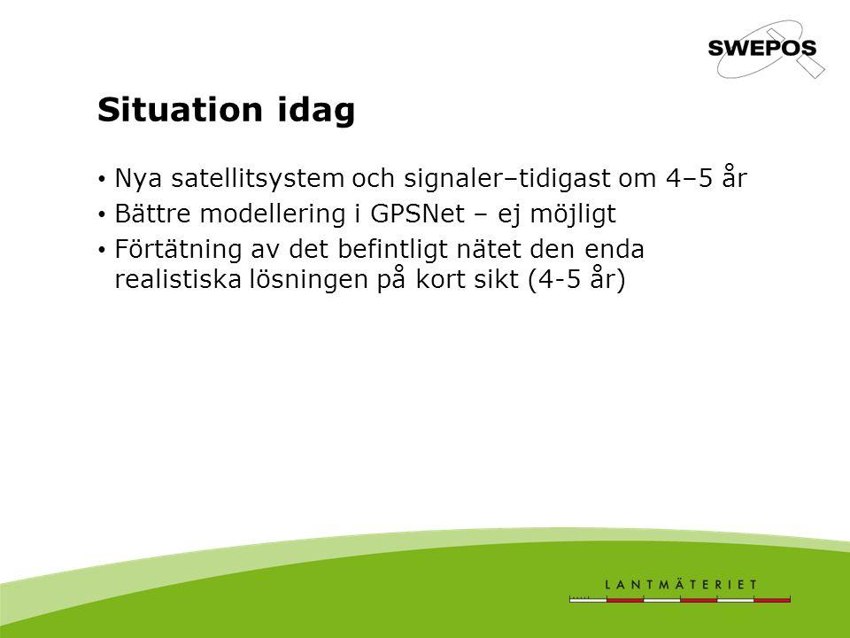 Situation idag Nya satellitsystem och signaler–tidigast om 4–5 år Bättre modellering i GPSNet – ej möjligt Förtätning av det befintligt nätet den enda