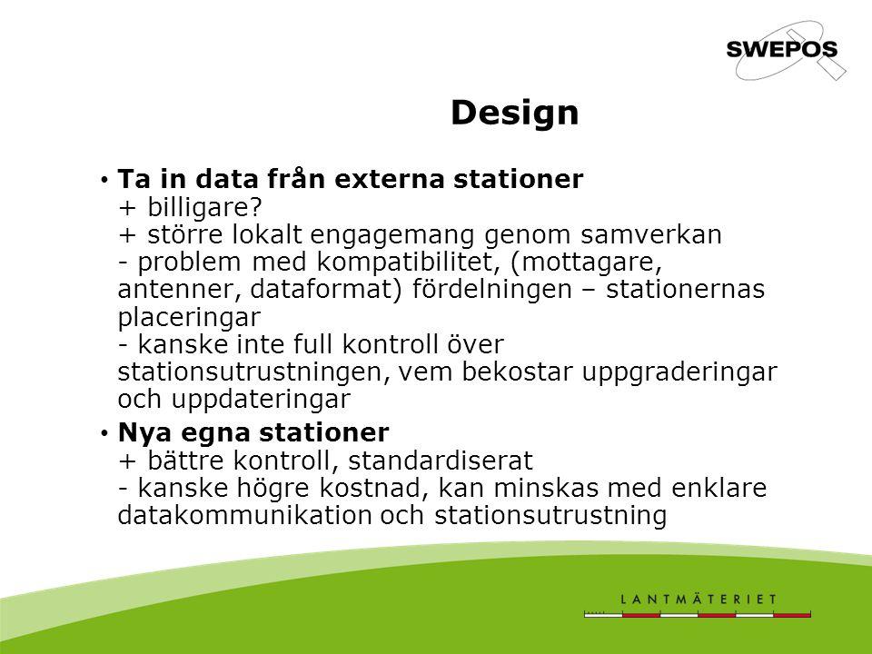 Ta in data från externa stationer + billigare? + större lokalt engagemang genom samverkan - problem med kompatibilitet, (mottagare, antenner, dataform