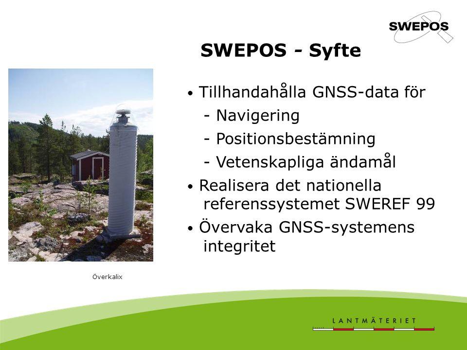 SWEPOS - Syfte Tillhandahålla GNSS-data för - Navigering - Positionsbestämning - Vetenskapliga ändamål Realisera det nationella referenssystemet SWERE