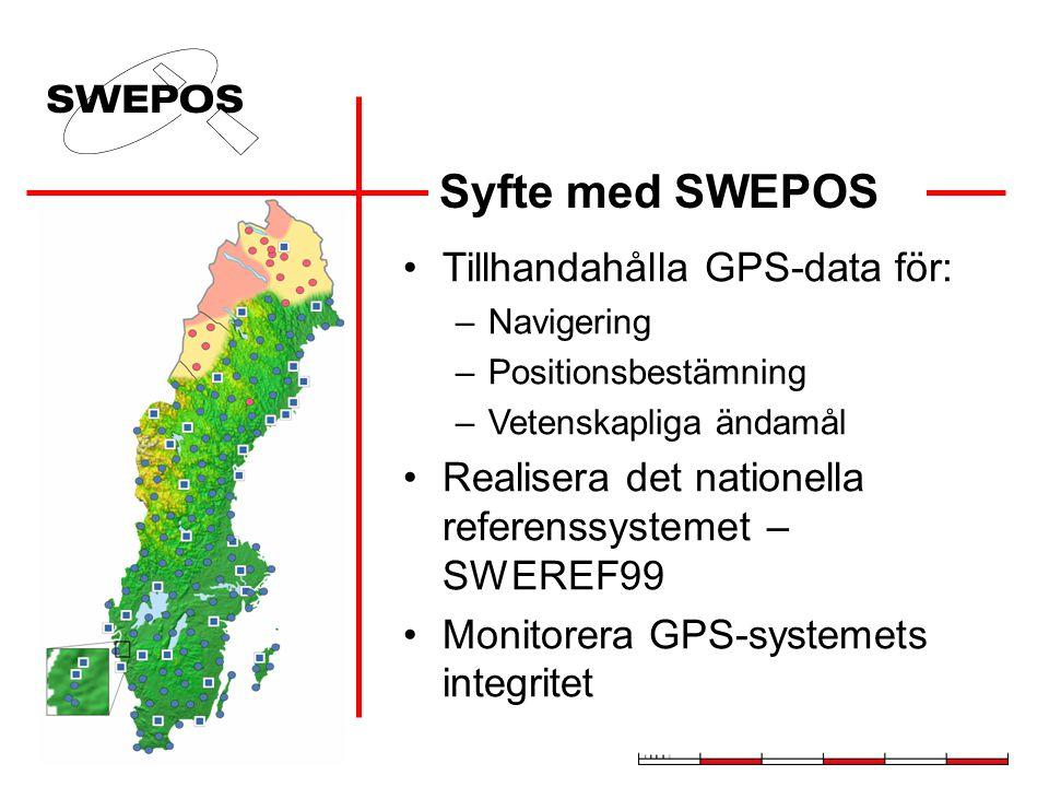 Syfte med SWEPOS Tillhandahålla GPS-data för: –Navigering –Positionsbestämning –Vetenskapliga ändamål Realisera det nationella referenssystemet – SWEREF99 Monitorera GPS-systemets integritet