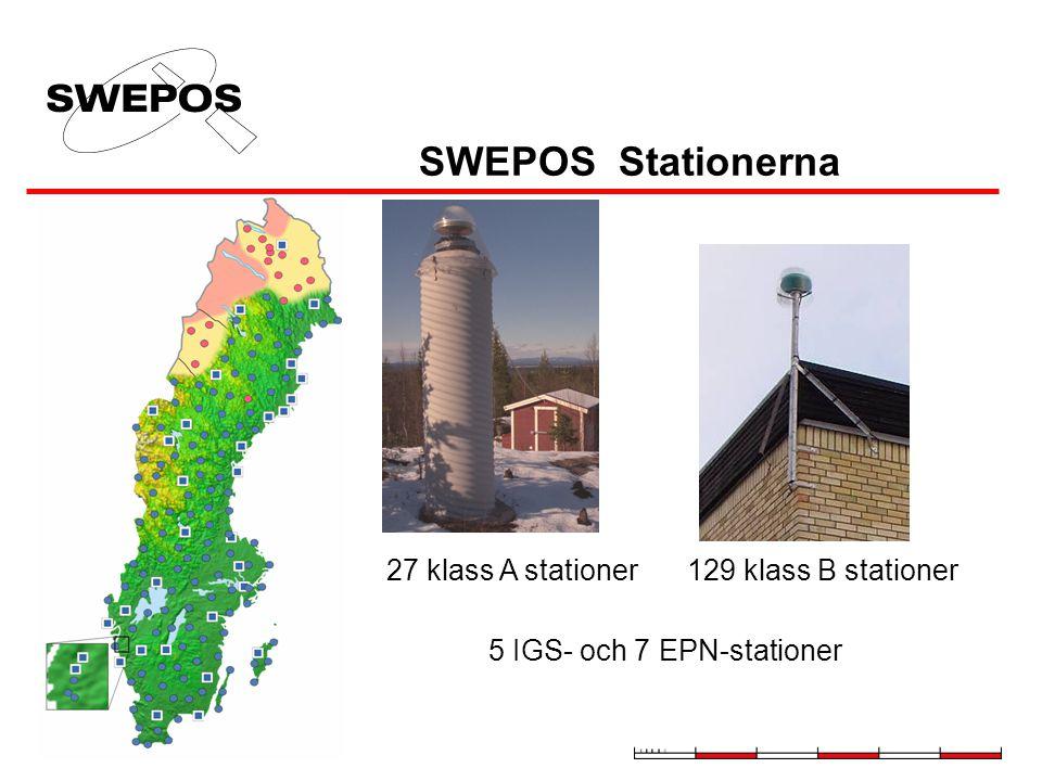 SWEPOS Stationerna 5 IGS- och 7 EPN-stationer 27 klass A stationer129 klass B stationer
