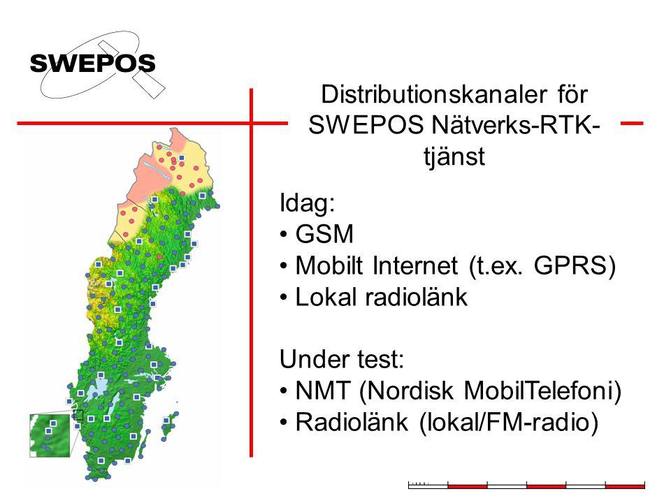 Distributionskanaler för SWEPOS Nätverks-RTK- tjänst Idag: GSM Mobilt Internet (t.ex.