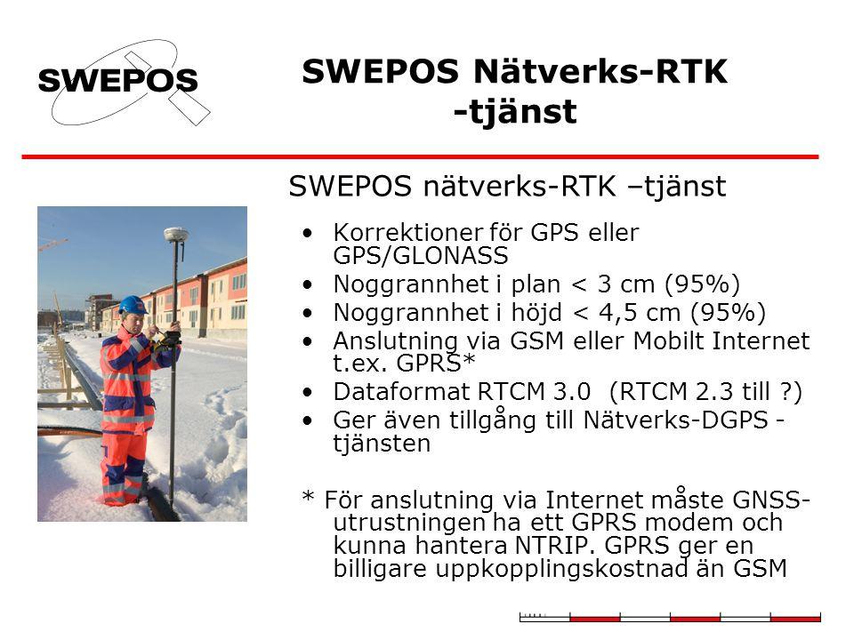Korrektioner för GPS eller GPS/GLONASS Noggrannhet i plan < 3 cm (95%) Noggrannhet i höjd < 4,5 cm (95%) Anslutning via GSM eller Mobilt Internet t.ex.