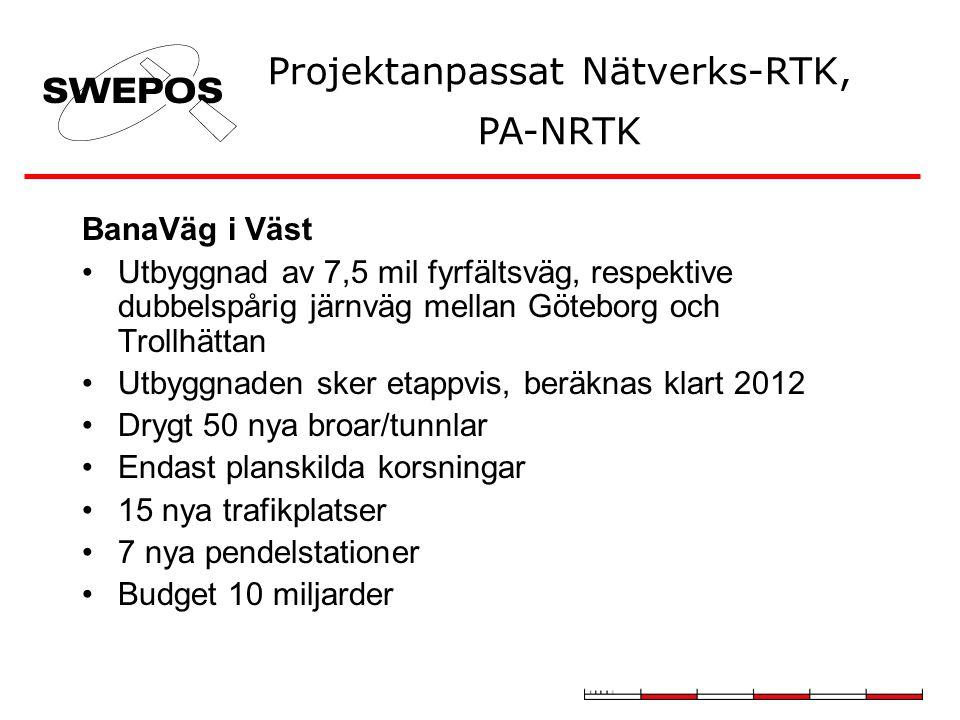 BanaVäg i Väst Utbyggnad av 7,5 mil fyrfältsväg, respektive dubbelspårig järnväg mellan Göteborg och Trollhättan Utbyggnaden sker etappvis, beräknas klart 2012 Drygt 50 nya broar/tunnlar Endast planskilda korsningar 15 nya trafikplatser 7 nya pendelstationer Budget 10 miljarder Projektanpassat Nätverks-RTK, PA-NRTK