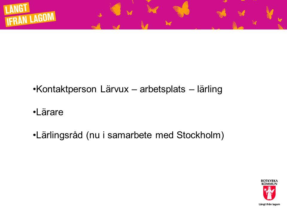 Kontaktperson Lärvux – arbetsplats – lärling Lärare Lärlingsråd (nu i samarbete med Stockholm)