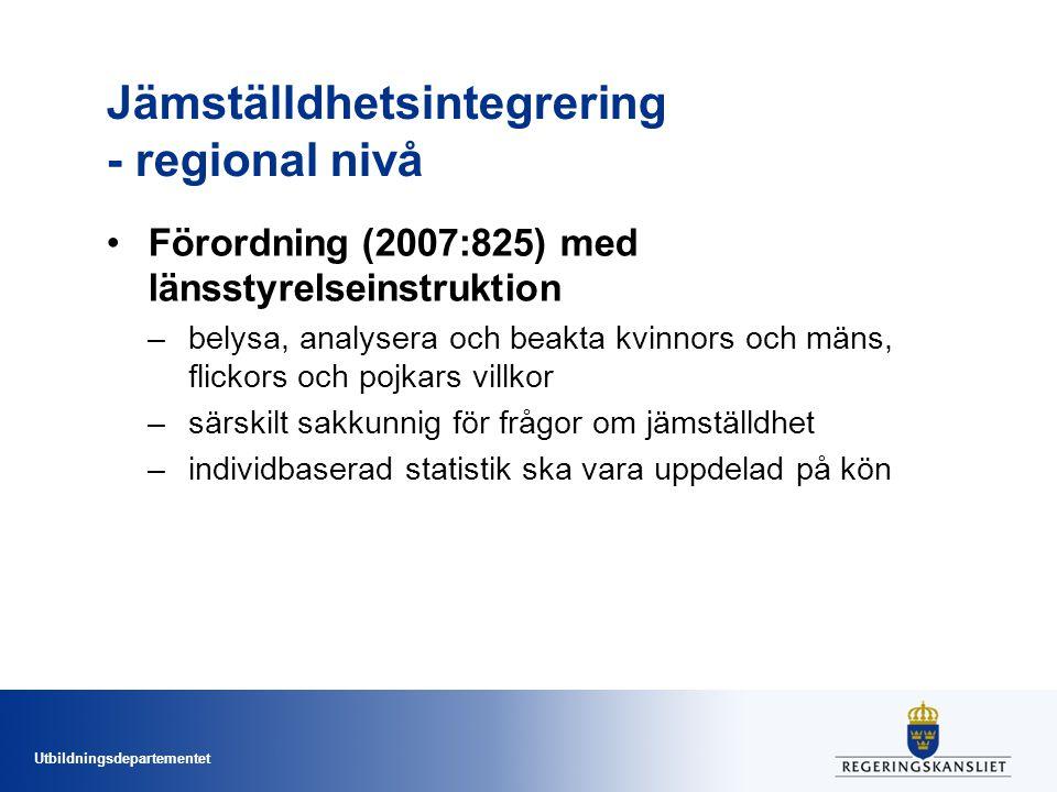 Utbildningsdepartementet Jämställdhetsintegrering - regional nivå Förordning (2007:825) med länsstyrelseinstruktion –belysa, analysera och beakta kvinnors och mäns, flickors och pojkars villkor –särskilt sakkunnig för frågor om jämställdhet –individbaserad statistik ska vara uppdelad på kön