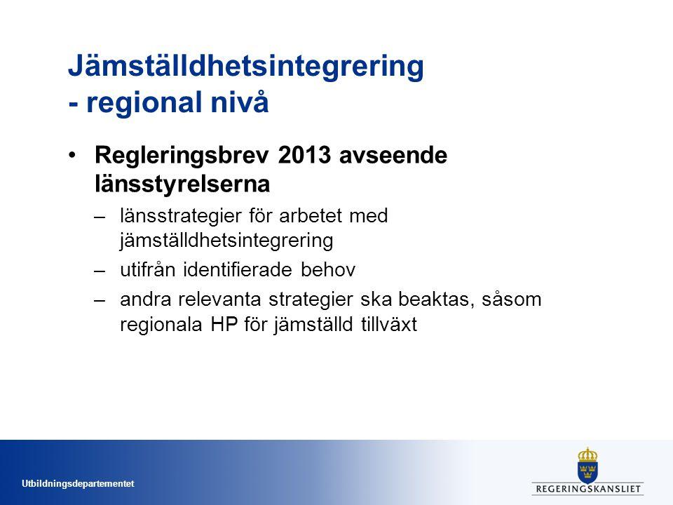 Utbildningsdepartementet Jämställdhetsintegrering - regional nivå Regleringsbrev 2013 avseende länsstyrelserna –länsstrategier för arbetet med jämställdhetsintegrering –utifrån identifierade behov –andra relevanta strategier ska beaktas, såsom regionala HP för jämställd tillväxt