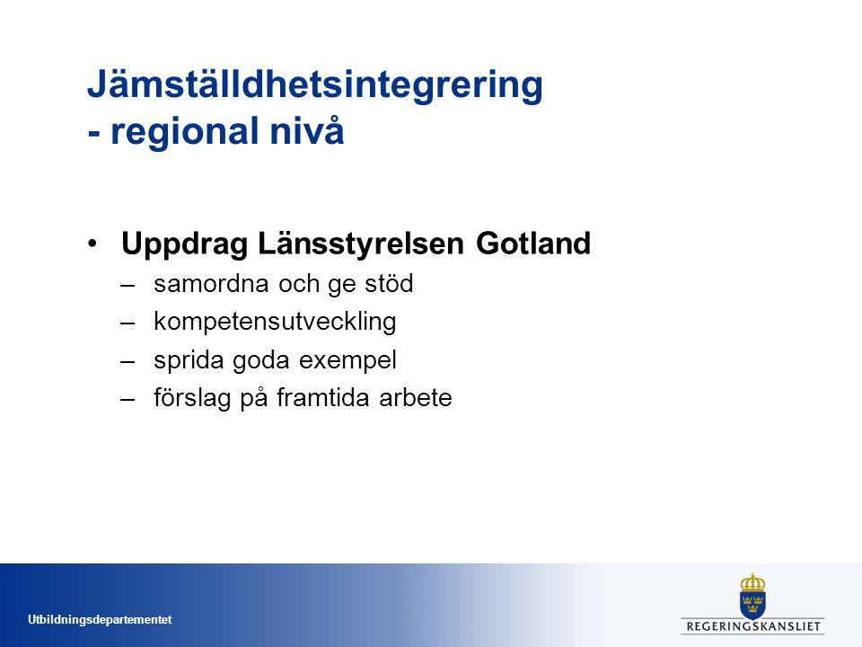 Utbildningsdepartementet Jämställdhetsintegrering - regional nivå Uppdrag Länsstyrelsen Gotland –samordna och ge stöd –kompetensutveckling –sprida goda exempel –förslag på framtida arbete