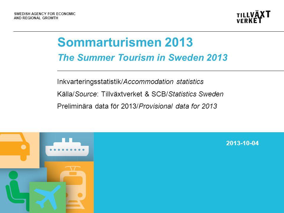 SWEDISH AGENCY FOR ECONOMIC AND REGIONAL GROWTH 05Oct10, PT Volymer/gästnätter (tusental) på hotell, stugbyar, vandrar- hem, campingplatser och SoL* sommaren 2013 (juni-aug) Volumes/nights spent (.000) at Hotels, Holiday villages, Youth hostels, Camping sites and SoL* in Sweden during the summer 2013 (June-Aug) *Kommersiellt förmedlade privata stugor och lägenheter/Commercially arranged rentals in private cottages and apt.