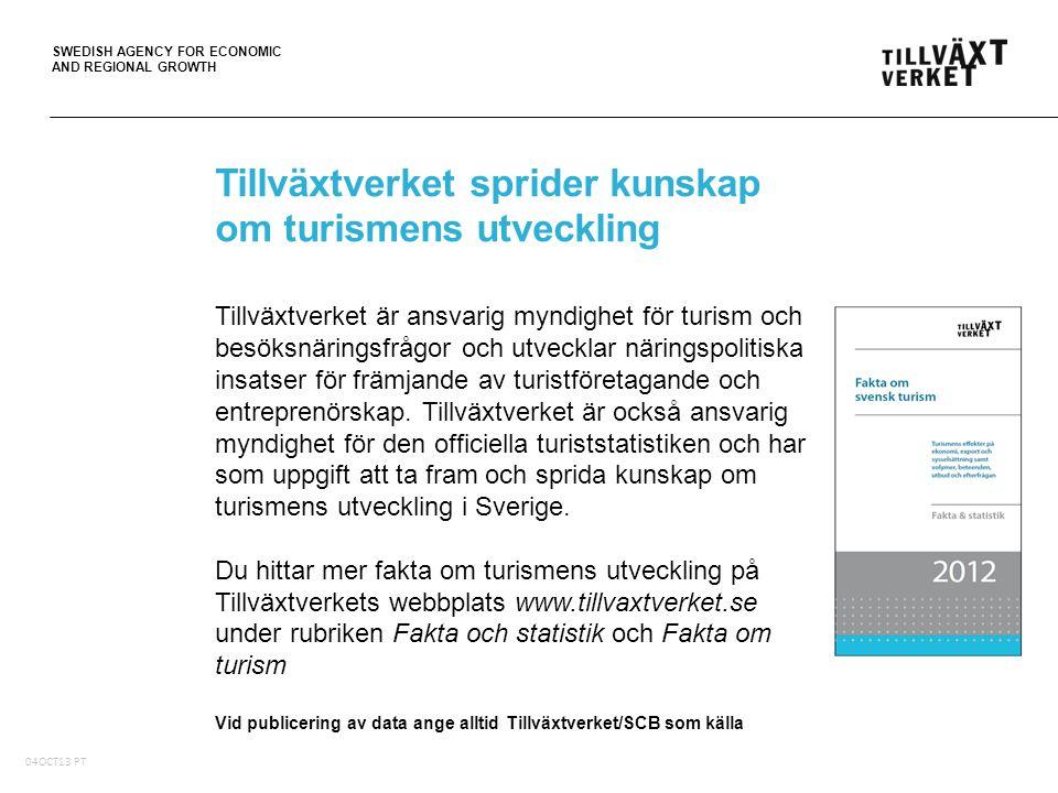 SWEDISH AGENCY FOR ECONOMIC AND REGIONAL GROWTH 05Oct10, PT Tillväxtverket sprider kunskap om turismens utveckling Tillväxtverket är ansvarig myndighet för turism och besöksnäringsfrågor och utvecklar näringspolitiska insatser för främjande av turistföretagande och entreprenörskap.