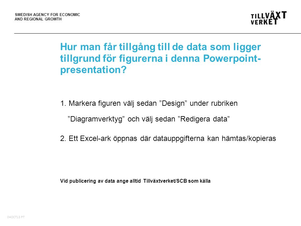 SWEDISH AGENCY FOR ECONOMIC AND REGIONAL GROWTH 05Oct10, PT Hur man får tillgång till de data som ligger tillgrund för figurerna i denna Powerpoint- presentation.