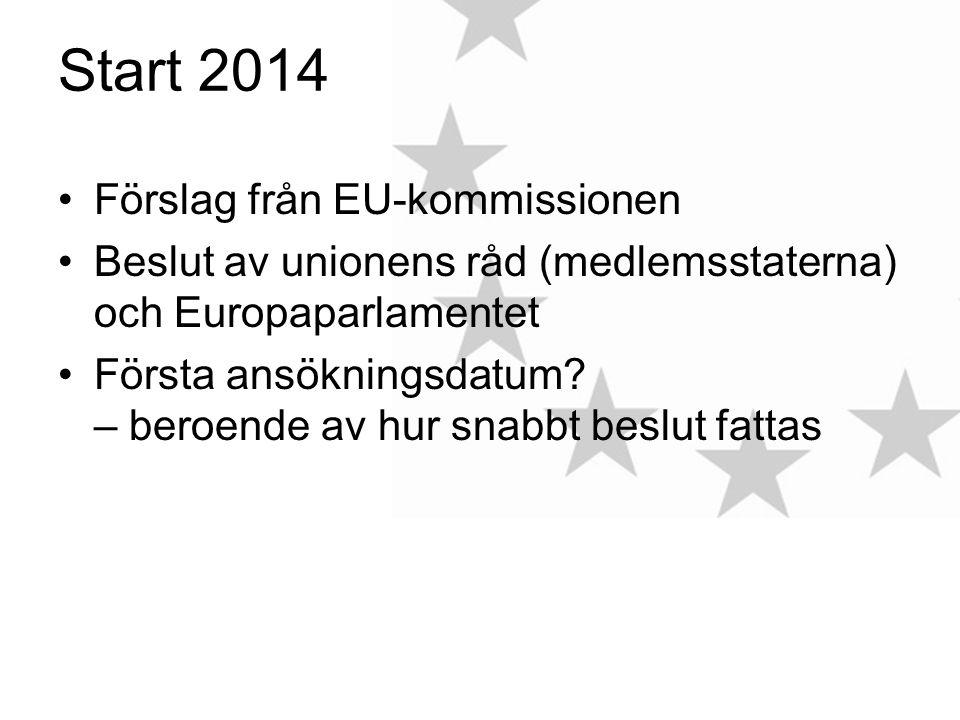 Start 2014 Förslag från EU-kommissionen Beslut av unionens råd (medlemsstaterna) och Europaparlamentet Första ansökningsdatum.