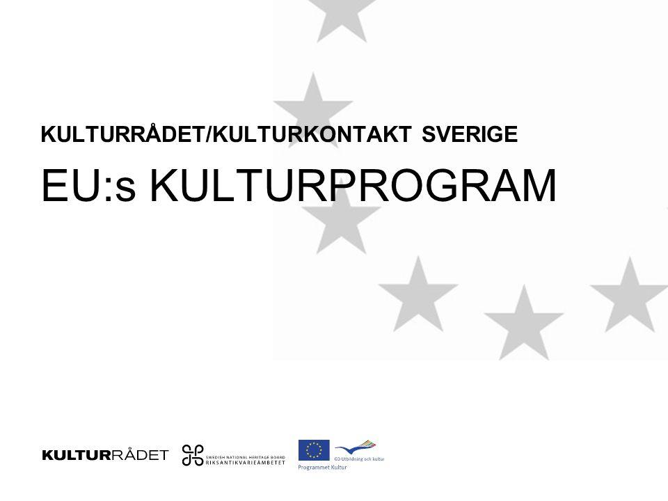 Resultat för svensk del 2012 75 miljoner kronor till projekt med svensk medverkan (21organisationer) Kalmar länsmusik Röda Sten Kulturförening Tensta konsthall Teatermaskinen Re:Orient