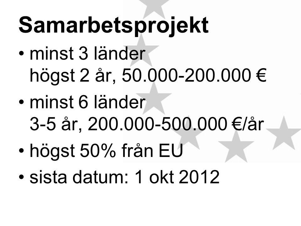 Samarbetsprojekt minst 3 länder högst 2 år, 50.000-200.000 € minst 6 länder 3-5 år, 200.000-500.000 €/år högst 50% från EU sista datum: 1 okt 2012