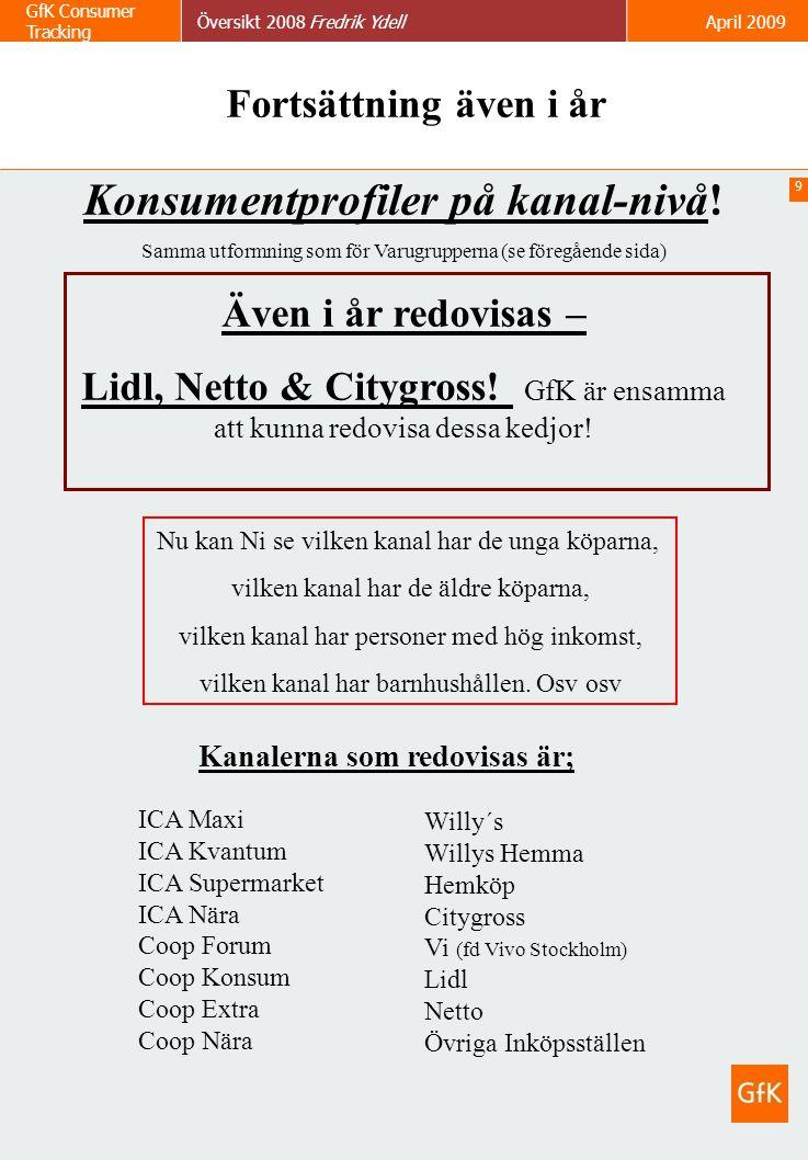 9 GfK Consumer Tracking Översikt 2008 Fredrik YdellApril 2009 Konsumentprofiler på kanal-nivå! Samma utformning som för Varugrupperna (se föregående s