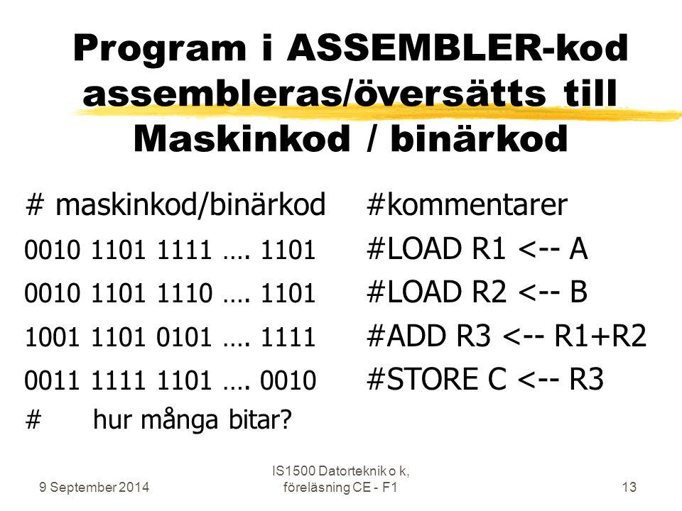9 September 2014 IS1500 Datorteknik o k, föreläsning CE - F113 Program i ASSEMBLER-kod assembleras/översätts till Maskinkod / binärkod # maskinkod/binärkod#kommentarer 0010 1101 1111 ….