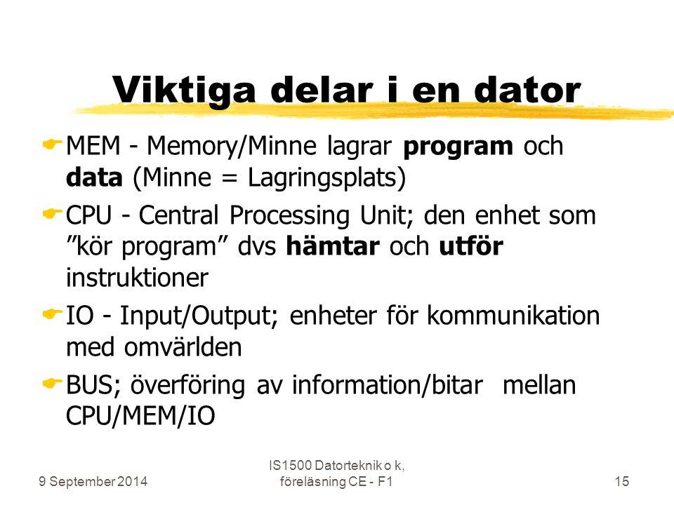 9 September 2014 IS1500 Datorteknik o k, föreläsning CE - F115 Viktiga delar i en dator  MEM - Memory/Minne lagrar program och data (Minne = Lagrings