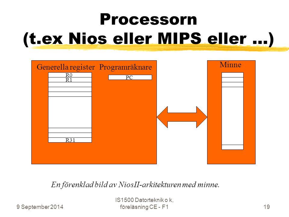 9 September 2014 IS1500 Datorteknik o k, föreläsning CE - F119 Processorn (t.ex Nios eller MIPS eller …) R0 R31 R1 PC Minne Generella registerProgramräknare En förenklad bild av NiosII-arkitekturen med minne.