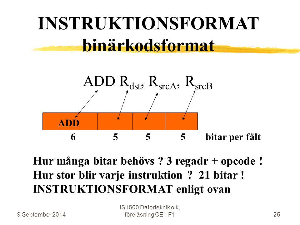 9 September 2014 IS1500 Datorteknik o k, föreläsning CE - F125 ADD R dst, R srcA, R srcB ADD Hur många bitar behövs ? 3 regadr + opcode ! Hur stor bli
