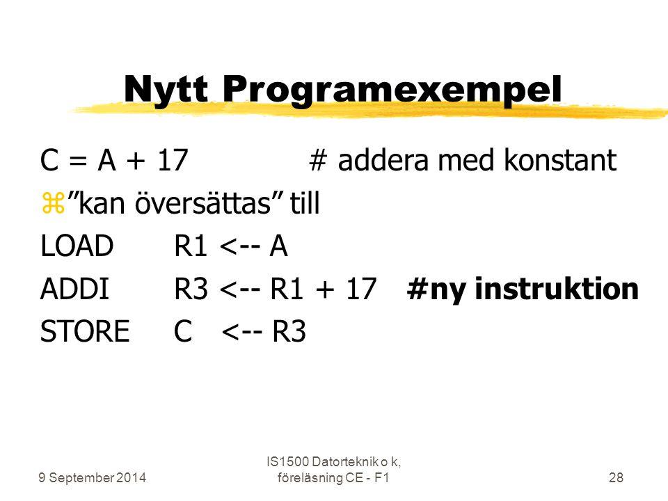 """9 September 2014 IS1500 Datorteknik o k, föreläsning CE - F128 Nytt Programexempel C = A + 17# addera med konstant z""""kan översättas"""" till LOADR1 <-- A"""