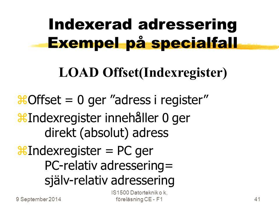 """9 September 2014 IS1500 Datorteknik o k, föreläsning CE - F141 Indexerad adressering Exempel på specialfall zOffset = 0 ger """"adress i register"""" zIndex"""