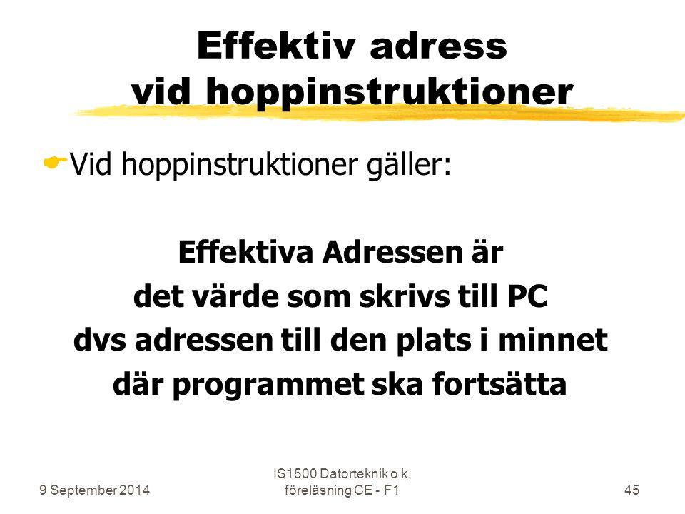 9 September 2014 IS1500 Datorteknik o k, föreläsning CE - F145 Effektiv adress vid hoppinstruktioner  Vid hoppinstruktioner gäller: Effektiva Adresse