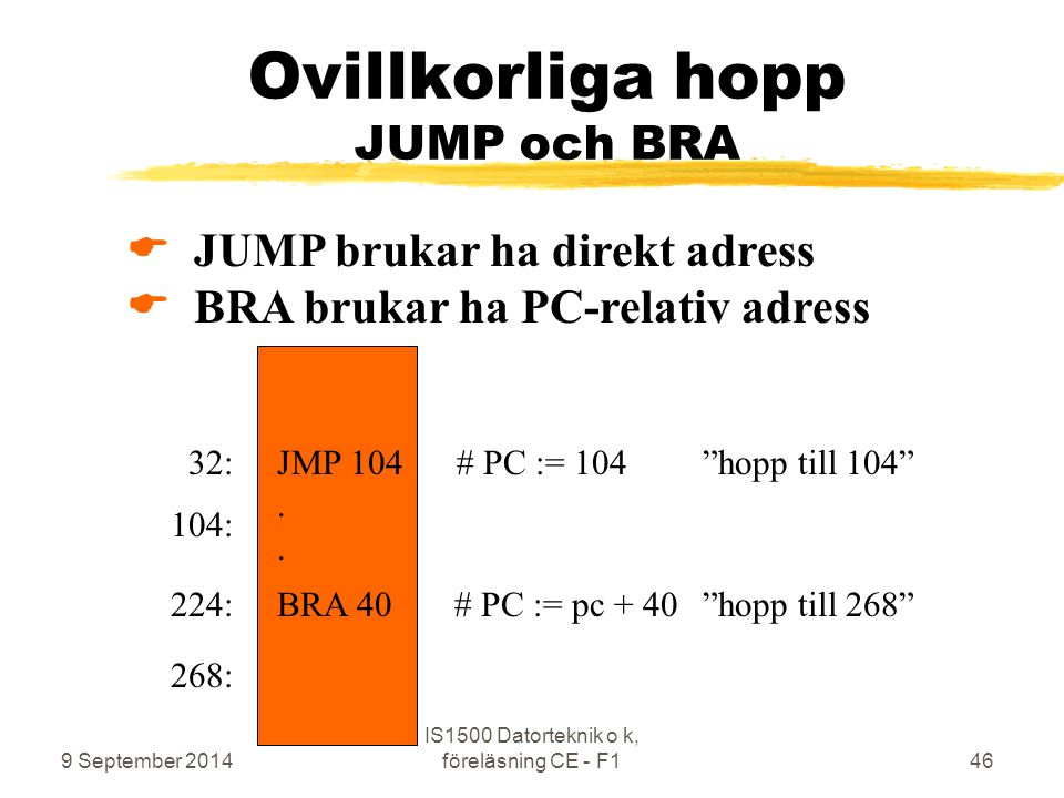 9 September 2014 IS1500 Datorteknik o k, föreläsning CE - F146 Ovillkorliga hopp JUMP och BRA  JUMP brukar ha direkt adress  BRA brukar ha PC-relativ adress JMP 104 # PC := 104 hopp till 104 .