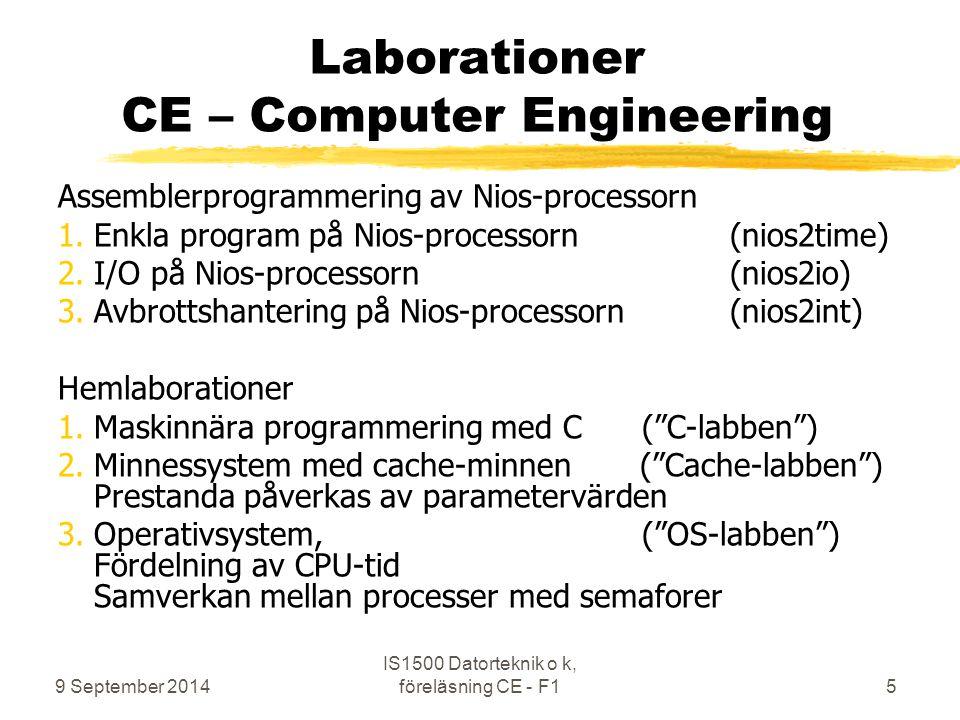 9 September 2014 IS1500 Datorteknik o k, föreläsning CE - F15 Laborationer CE – Computer Engineering Assemblerprogrammering av Nios-processorn 1.Enkla