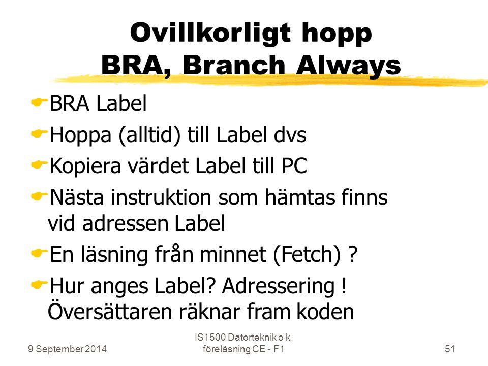 9 September 2014 IS1500 Datorteknik o k, föreläsning CE - F151 Ovillkorligt hopp BRA, Branch Always  BRA Label  Hoppa (alltid) till Label dvs  Kopi