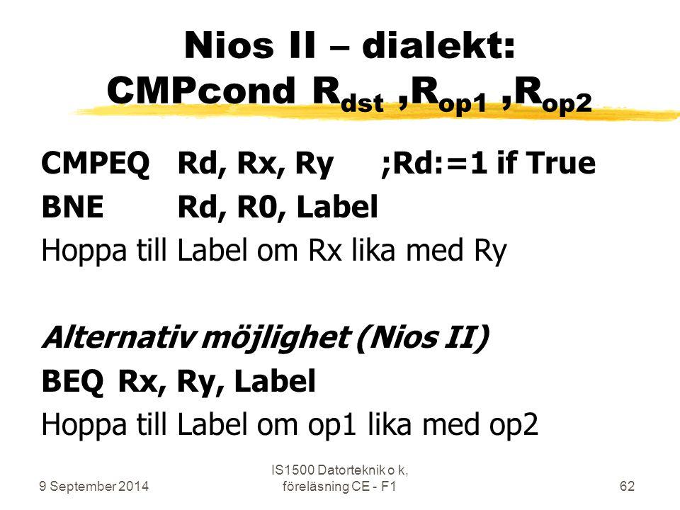 9 September 2014 IS1500 Datorteknik o k, föreläsning CE - F162 Nios II – dialekt: CMPcond R dst,R op1,R op2 CMPEQ Rd, Rx, Ry;Rd:=1 if True BNERd, R0, Label Hoppa till Label om Rx lika med Ry Alternativ möjlighet (Nios II) BEQ Rx, Ry, Label Hoppa till Label om op1 lika med op2