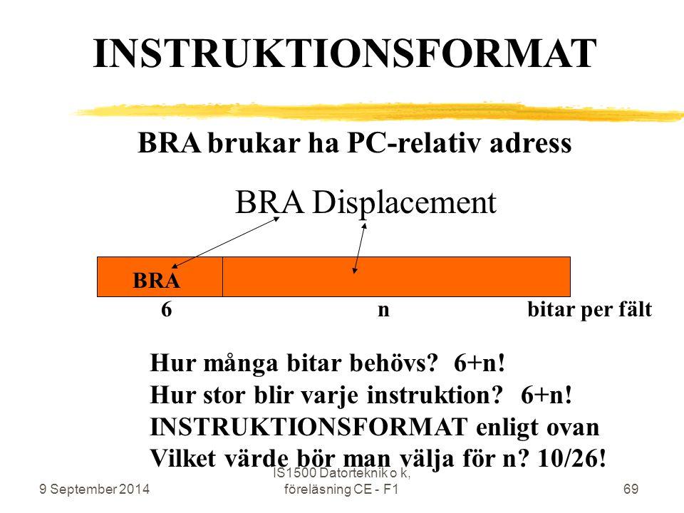 9 September 2014 IS1500 Datorteknik o k, föreläsning CE - F169 BRA brukar ha PC-relativ adress BRA Displacement BRA INSTRUKTIONSFORMAT 6 n bitar per fält Hur många bitar behövs.