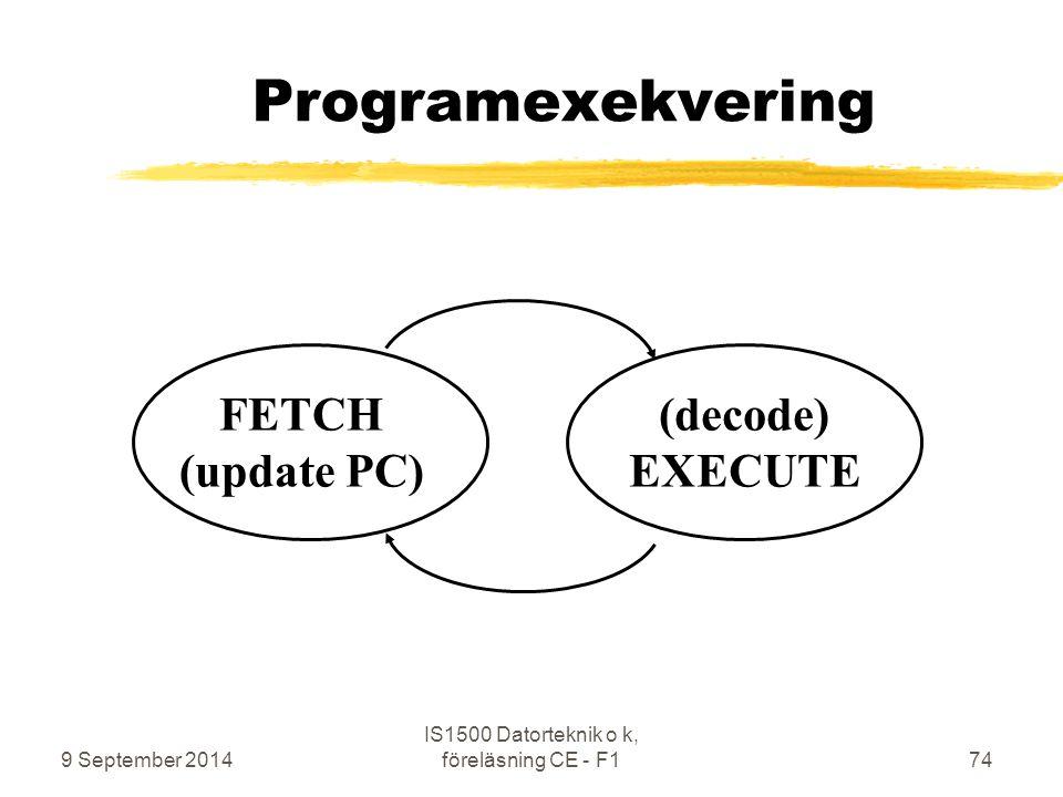 9 September 2014 IS1500 Datorteknik o k, föreläsning CE - F174 Programexekvering FETCH (update PC) (decode) EXECUTE