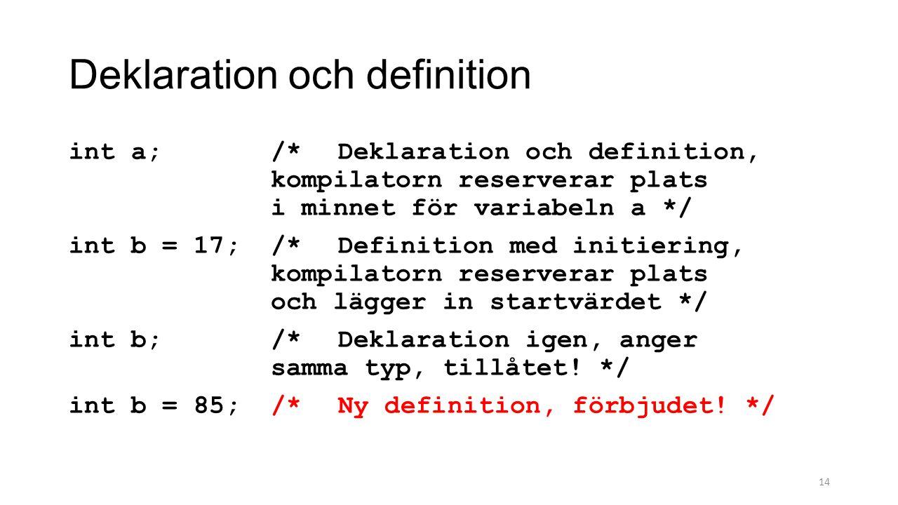 Deklaration och definition int a;/*Deklaration och definition, kompilatorn reserverar plats i minnet för variabeln a */ int b = 17;/*Definition med initiering, kompilatorn reserverar plats och lägger in startvärdet */ int b;/*Deklaration igen, anger samma typ, tillåtet.