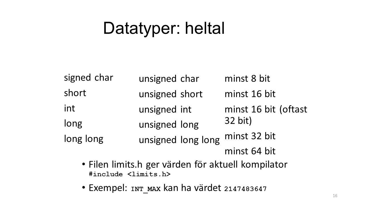 Datatyper: heltal signed char short int long unsigned char unsigned short unsigned int unsigned long unsigned long long 16 minst 8 bit minst 16 bit mi