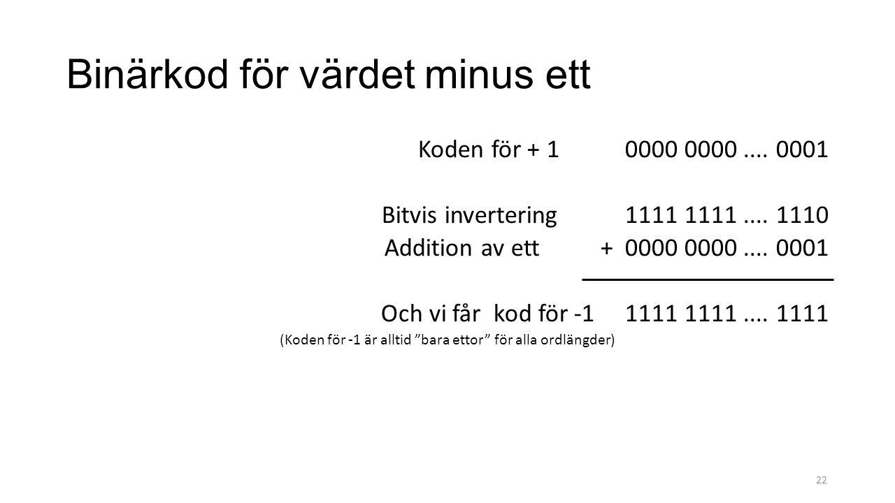Binärkod för värdet minus ett Koden för + 1 0000 0000.... 0001 Bitvis invertering 1111 1111.... 1110 Addition av ett + 0000 0000.... 0001 Och vi får k