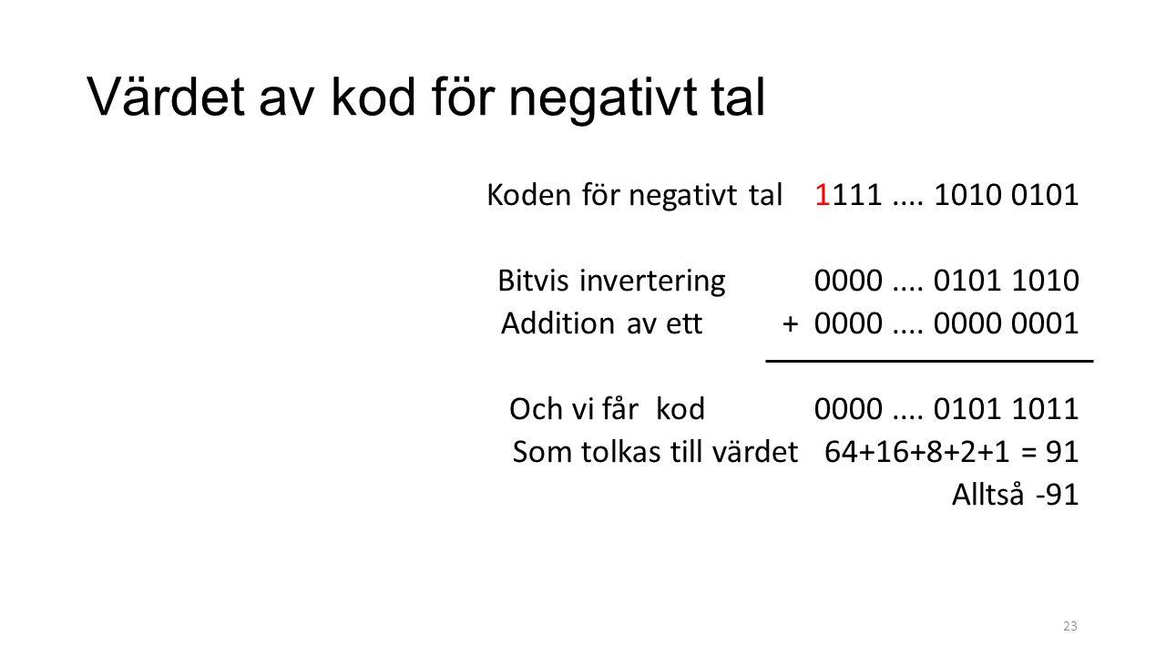 Värdet av kod för negativt tal Koden för negativt tal 1111.... 1010 0101 Bitvis invertering 0000.... 0101 1010 Addition av ett + 0000.... 0000 0001 Oc