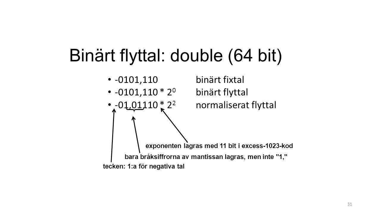 Binärt flyttal: double (64 bit) 31 -0101,110 binärt fixtal -0101,110 * 2 0 binärt flyttal -01,01110 * 2 2 normaliserat flyttal exponenten lagras med 11 bit i excess-1023-kod bara bråksiffrorna av mantissan lagras, men inte 1, tecken: 1:a för negativa tal