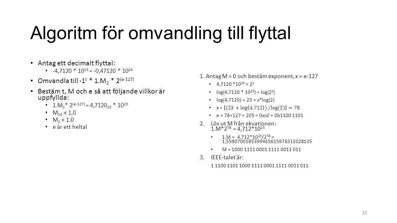 Algoritm för omvandling till flyttal Antag ett decimalt flyttal: -4,7120 * 10 23 = -0,47120 * 10 24 Omvandla till -1 t * 1.M 2 * 2 (e-127) Bestäm t, M och e så att följande villkor är uppfyllda: 1.M 2 * 2 (e-127) = 4,7120 10 * 10 23 M 10 < 1,0 M 2 < 1.0 e är ett heltal 33