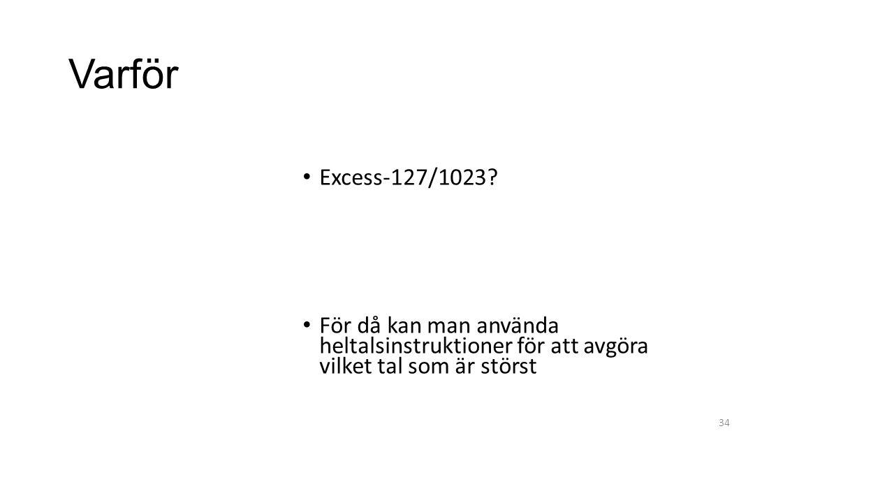 Varför Excess-127/1023? För då kan man använda heltalsinstruktioner för att avgöra vilket tal som är störst 34