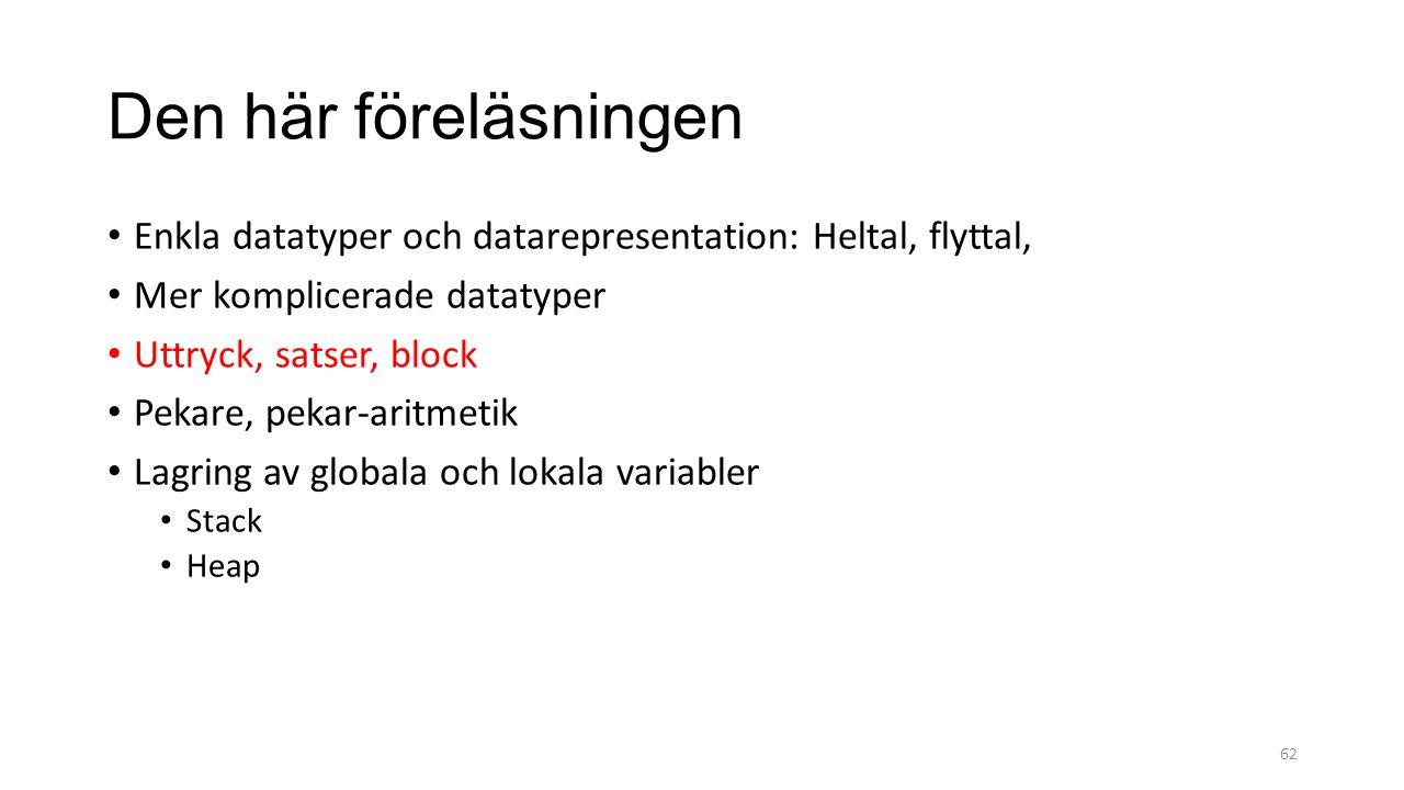 Den här föreläsningen Enkla datatyper och datarepresentation: Heltal, flyttal, Mer komplicerade datatyper Uttryck, satser, block Pekare, pekar-aritmetik Lagring av globala och lokala variabler Stack Heap 62
