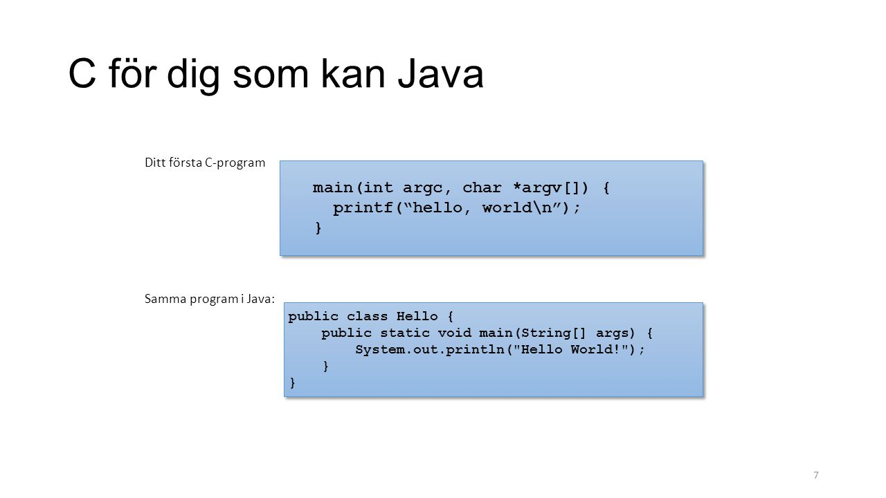 7 C för dig som kan Java main(int argc, char *argv[]) { printf( hello, world\n ); } main(int argc, char *argv[]) { printf( hello, world\n ); } Ditt första C-program public class Hello { public static void main(String[] args) { System.out.println( Hello World! ); } } public class Hello { public static void main(String[] args) { System.out.println( Hello World! ); } } Samma program i Java: