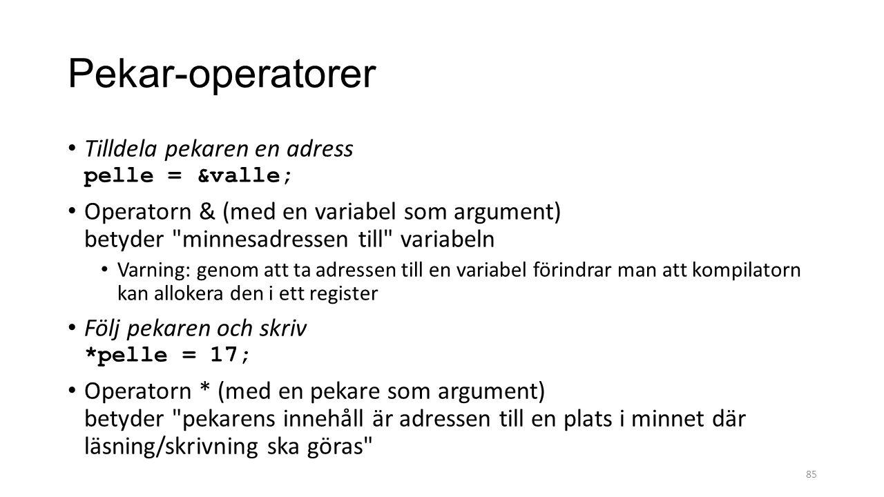 Pekar-operatorer Tilldela pekaren en adress pelle = &valle; Operatorn & (med en variabel som argument) betyder