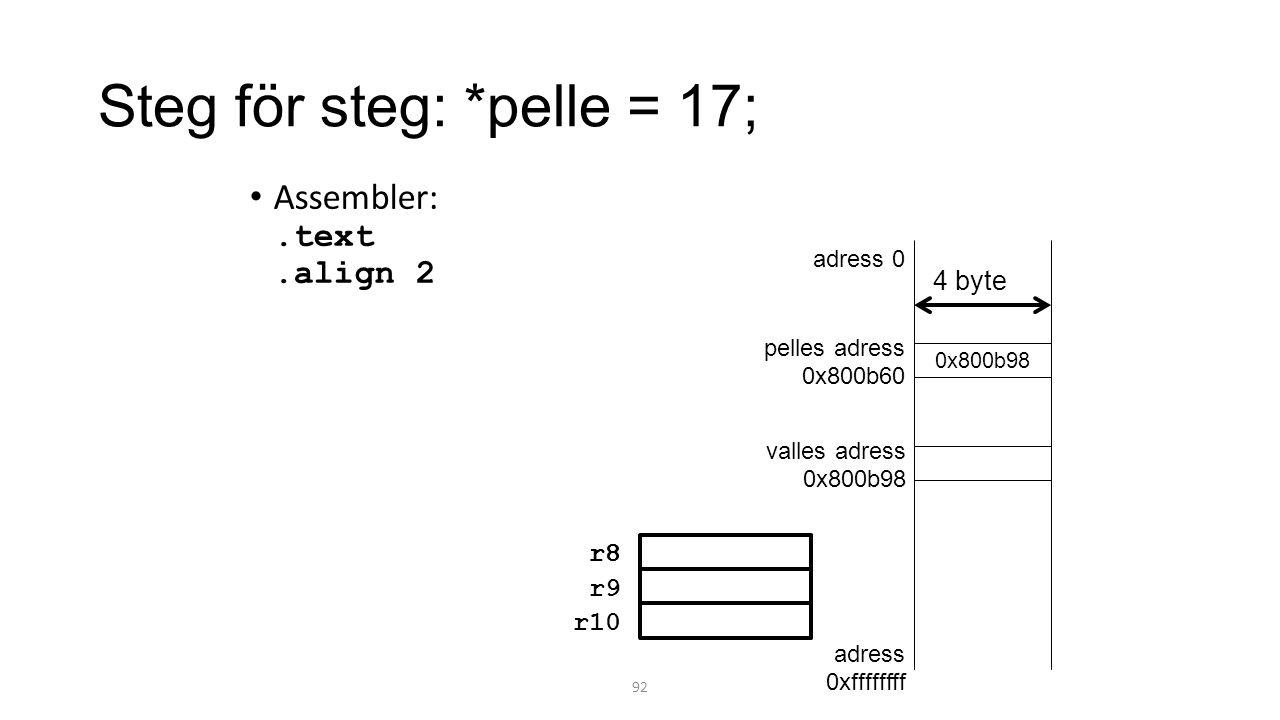 Steg för steg: *pelle = 17; Assembler:.text.align 2 92 0x800b98 adress 0 adress 0xffffffff valles adress 0x800b98 pelles adress 0x800b60 4 byte r8 r9