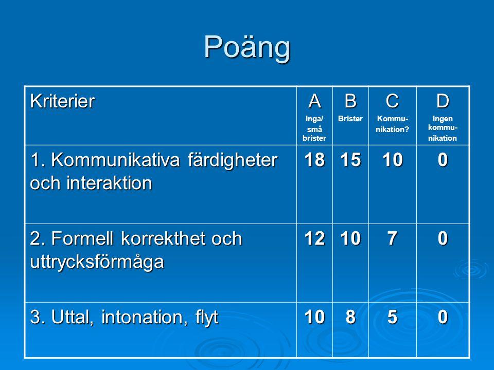 Poäng KriterierA Inga/ små bristerB BristerC Kommu- nikation?D Ingen kommu- nikation 1. Kommunikativa färdigheter och interaktion 1815100 2. Formell k